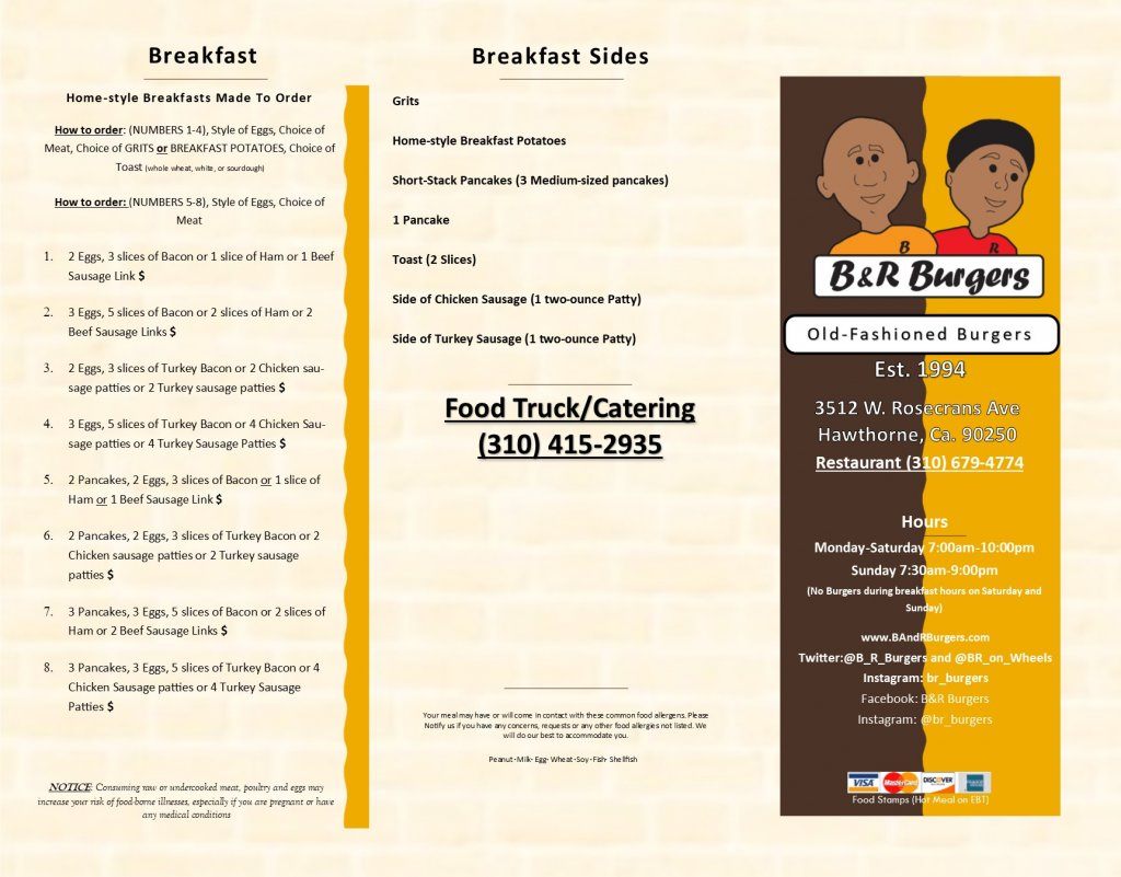 Menu, Breakfast, Sandwiches, logo, hours